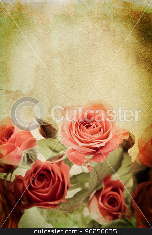 Vintage rose stock photo, Vintage rose on watercolour background by Piccia Neri