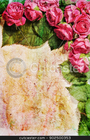 Vintage rose frame stock photo, Vintage rose frame on distressed paper background with room for a message. Great as a greetings card, for a love message and so on. Plenty of copy space. Portrait orientation. by Piccia Neri