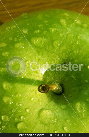Apple stock photo, Detail of fresh English green apple covered in dew by Piccia Neri