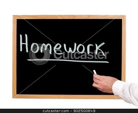 Homework stock photo, Homework is written in chalk on a chalkboard. by Richard Nelson
