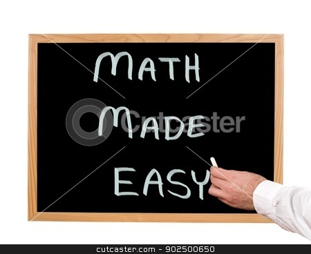 Math Tutorial stock photo, Math made easy is written in chalk on a chalkboard. by Richard Nelson