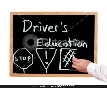 Driver's Education stock photo, Driver's education is written in chalk on a chalkboard. by Richard Nelson