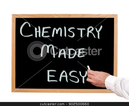 Chemistry stock photo, Chemistry made easy is written in chalk on a chalkboard. by Richard Nelson