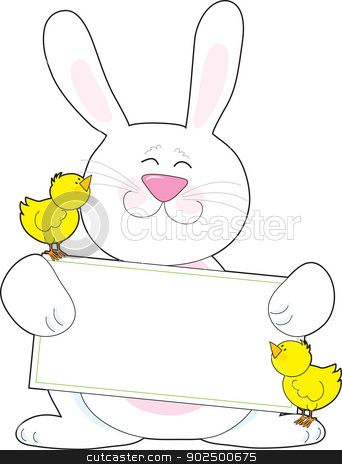 Bunny Sign stock vector clipart, A white Easter bunny holds a blank message poster, while accompanied by two yellow baby chicks. by Maria Bell