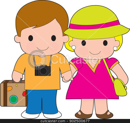 Couple Travel stock vector clipart, This happy couple are delighted to be going on vacation, luggage at their side and camera at the ready. by Maria Bell