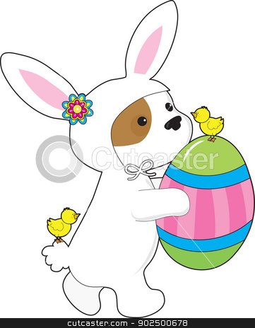 Cute Puppy Bunny Suit stock vector clipart, A cute puppy in a bunny suit, followed by a couple of little chicks, holds a giant painted Easter egg. by Maria Bell