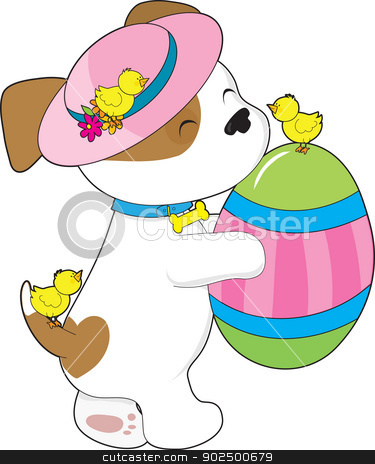Cute Puppy Easter Egg stock vector clipart, A cute puppy wearing an Easter hat, holds a giant painted egg while three little chicks twitter about. by Maria Bell