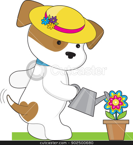 Cute Puppy Plant stock vector clipart, A cute little puppy wearing a bright yellow hat, waters a potted flower with tail wagging. by Maria Bell