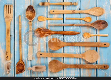 Kitchen devices stock photo, Set from wooden kitchen devices by Grafvision