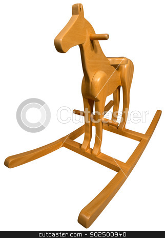 Wooden Rocking Horse stock photo, Brown wooden rocking horse isolated on white background by catalby