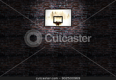 Basket stock photo, Old and rusty basket over a brick wall by Fabio Alcini