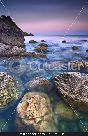 Sunset in Howth stock photo, Sunset over Irish Sea, Howth Peninsula, Republic of Ireland, Europe by Tiramisu Studio