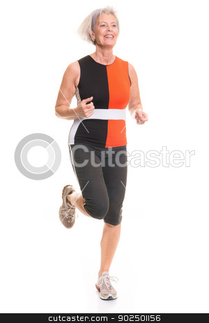 Active senior woman stock photo, Running senior woman in front of white background by Picturehunter