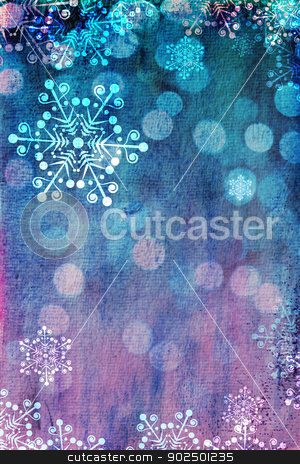 Pink and blue Christmas card stock photo, Christmas card with snowflakes against blue and pink bokeh background. Plenty of copy space. Hand-painted elements with digital elements. Watercolour texture. by Piccia Neri