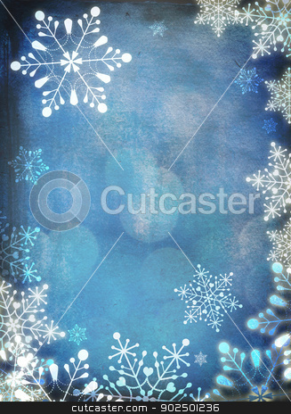 Christmas card stock photo, Christmas card with white snowflakes against blue background. Plenty of copy space. Hand-painted elements with digital elements. by Piccia Neri