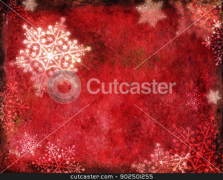 Red Christmas card stock photo, Red christmas card with snowflakes on watercolour textured background. Hand-painted, hand-made elements mixed with digital work. by Piccia Neri