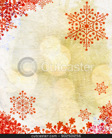 Christmas card stock photo, Christmas card with red snowflakes against golden background. Plenty of copy space. by Piccia Neri