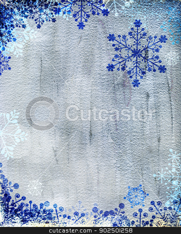 Silver Christmas card with blue snowflakes stock photo, Christmas card with blue snowflakes against silver background. Plenty of copy space. Hand-painted elements with digital elements. by Piccia Neri