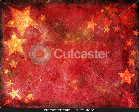 Red Christmas card with gold stars stock photo, Red christmas card with gold stars on watercolour textured background. Hand-painted, hand-made elements mixed with digital work. by Piccia Neri