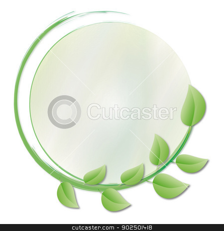 circle of green leaves stock photo, a circle of green leaves and another circle in the center with shades of green and yellow as a mirror for Environmental Advertising by Cochonneau