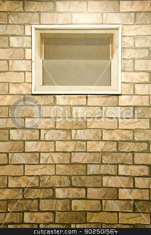 Brick wall stock photo, Brick wall with window by chatchai
