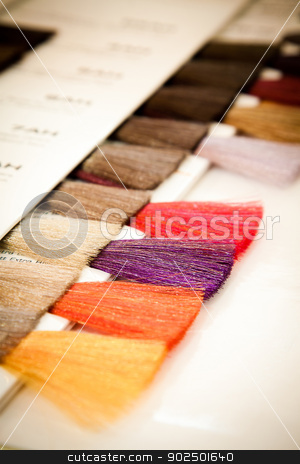 Hair dye colour swatch stock photo, At the hairdresser's: a hair dye colour swatch. Selective focus. by Piccia Neri