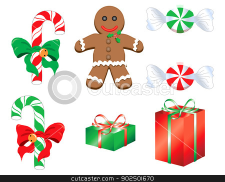 Christmas Icons 4 stock vector clipart, Vector Illustration of 7 Holiday Icons. Christmas Icons 4. by Basheera Hassanali