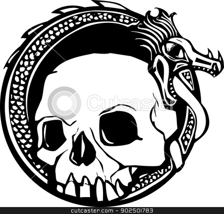Dragon and Skull stock vector clipart, Woodcut style image of a human skull and a dragon. by Jeffrey Thompson