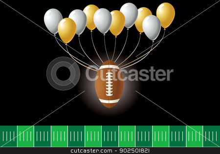 Football Design stock vector clipart, Vector Illustration of a football design with party balloons and yard line.  by Basheera Hassanali