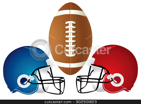 Football Helmet Design stock vector clipart, Vector Illustration of a football design with helmets.  by Basheera Hassanali