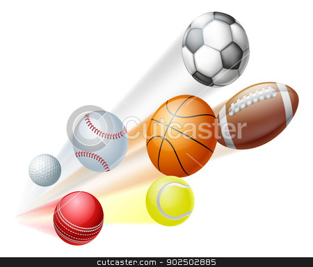 Sports balls concept stock vector clipart, Illustration of a lots of sports ball dynamically flying through the air with motion blur by Christos Georghiou