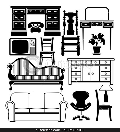 Set of furniture stock vector clipart, An illustration of a set of black and white furniture graphics by Christos Georghiou