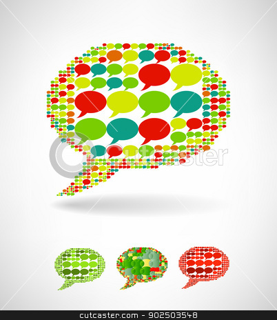 Big speech bubble made from small bubbles stock photo, Big speech bubble made from small bubbles. Vector illustration by sermax55