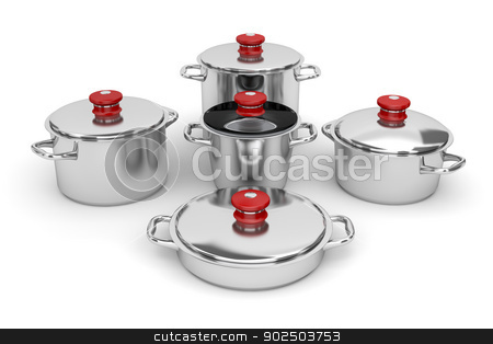 Cookware stock photo, Set of stainless steel pots on white background by Mile Atanasov