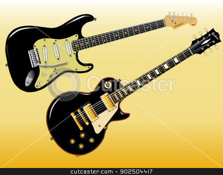 Guitar Giants stock vector clipart, The definitive rock and roll guitars in black. by Kotto