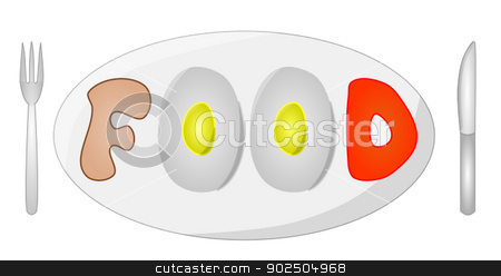 Vector of Food Sign stock vector clipart, A vector illustration of a food sign on a plate with a knife and fork on either side. The food sign consists of bread and eggs. by Edd