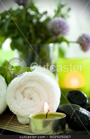 Spa still life, portrait stock photo, Warm towels, candles, herbs and zen stones for a spa treatment. by Piccia Neri