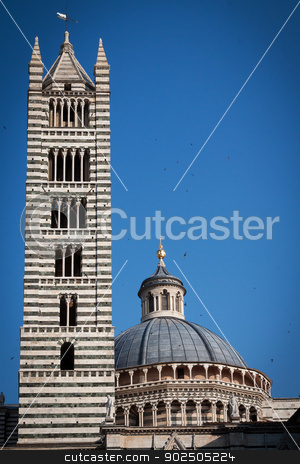 Siena cathedral stock photo, The striped bell tower of the Cathedral of Siena on a beautiful summer day. by Piccia Neri