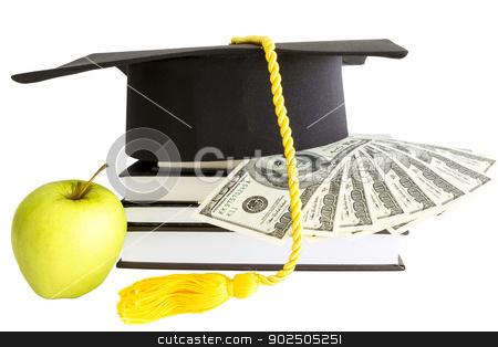 Money and books for school stock photo, Money and books for education by manaemedia
