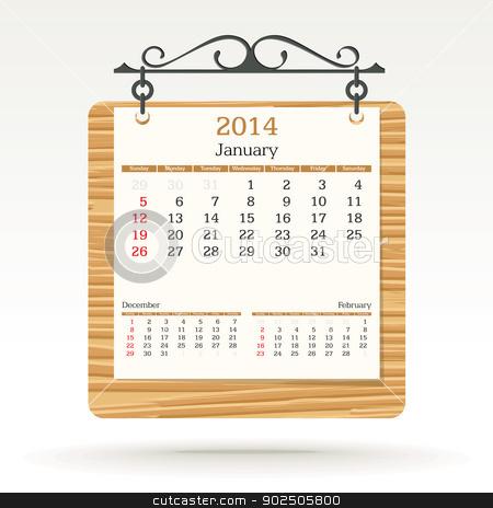 january 2014 - calendar stock vector clipart, january 2014 - calendar - vector illustration by ojal_2