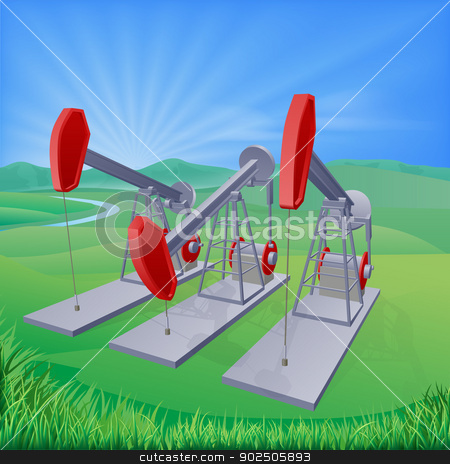 Oil well pumpjacks stock vector clipart, Illustration of oil well pumpjacks also known as nodding donkeys, horsehead pumps, dinosaurs or by various other names by Christos Georghiou