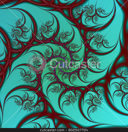 Burgundy on Turquoise Spiral stock photo, Digital abstract fractal image with a spiral design in burgundy on a turquoise background. by Colin Forrest