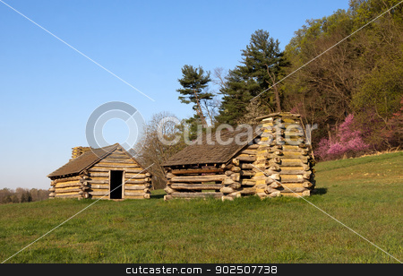 Soldiers Huts at Valley Forge stock photo, Reproductions of cabins used by Revolutionary War soldiers during the winter of 1777-78 under the command of George Washington. Located in Valley Forge National Historic Park, Pennsylvania, USA.  by Delmas Lehman