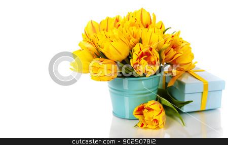 yellow tulips and gift box stock photo, yellow tulips and gift box by klenova