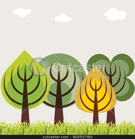 Autumn trees abstract background illustration stock photo, Autumn trees abstract background by Maria Cherevan