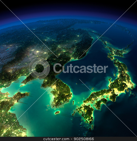 Night Earth. A piece of Asia -  Korea, Japan, China stock photo, Highly detailed Earth, illuminated by moonlight. The glow of cities sheds light on the detailed exaggerated terrain and translucent water of the oceans. Elements of this image furnished by NASA by Antartis
