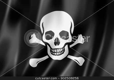 Pirate flag, Jolly Roger stock photo, Pirate flag, Jolly Roger, three dimensional render, satin texture by Laurent Davoust