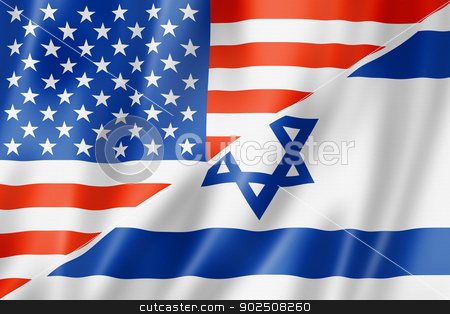 USA and Israel flag stock photo, Mixed USA and Israel flag, three dimensional render, illustration by Laurent Davoust