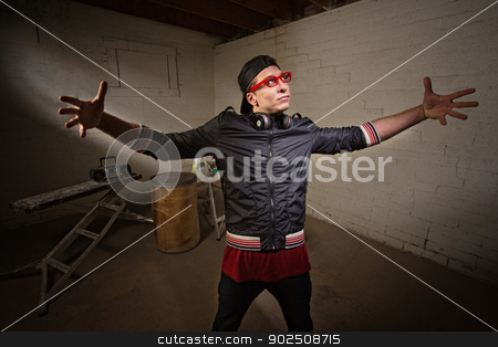 Man with Big Gesture stock photo, Young urban man with open arms in big expression by Scott Griessel