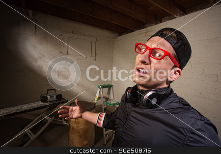 Frustrated Urban Man stock photo, Frustrated man with red eyeglasses and hat by Scott Griessel